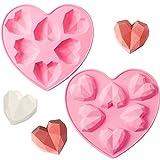 2 Piezas Moldes de Corazón 3D Bandeja de Moldes de Silicona de Pastel Chocolate Molde de Corazón Geométrico de Diamante para Postre Fondant Mousses de Compromiso Boda Día de San Valentín