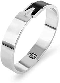 Designer Inspired Titanium Steel Wide Cuff Spring Love Enamel Bracelet Bangle 12mm
