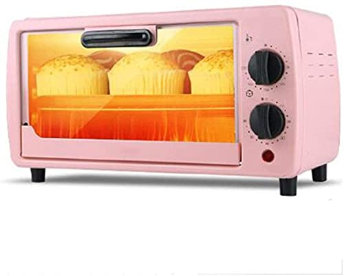 Desktop mobile toaster, 9 liter timer oven, with baking tray and grill, pink, polished stainless steel, 600W