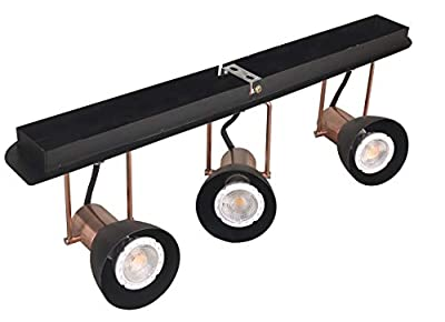 KimYan Track Lighting Pendant fixtures with Plug in Cord, Bronze and Black Finish,with On/Off Switch, with MR16GU10 LED Bulbs,Warm White,CRI90