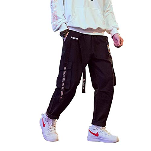 Aelfric Eden Man Long Casual Cargo Pants Boys Girls Young Streetwear Pant Wild Women Loose Street Hip hop Sports S-XL (Black, XL)