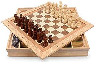 Luckyw Schack massivt trä stor nybörjarschackuppsättning bärbart barn/vuxen schack