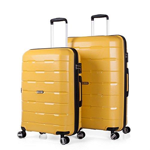 JASLEN - 67500 SET TROLLEYS POLIPROPILENO 60/70CM CON TSA LOCK, Color Amarillo