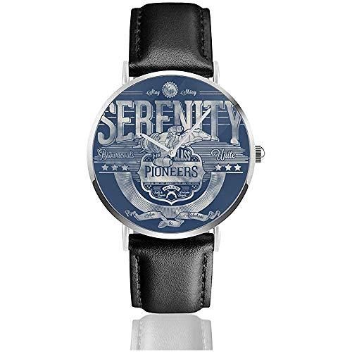 Unisex Serenity Firefly Pioneers Browncoats Unite Uhren Quarzlederuhr mit schwarzem Lederband