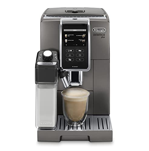 De'Longhi Dinamica Plus, Máquina Automática de Café en Grano, Cappuccino, Espresso, ECAM370.95.T, Titanio