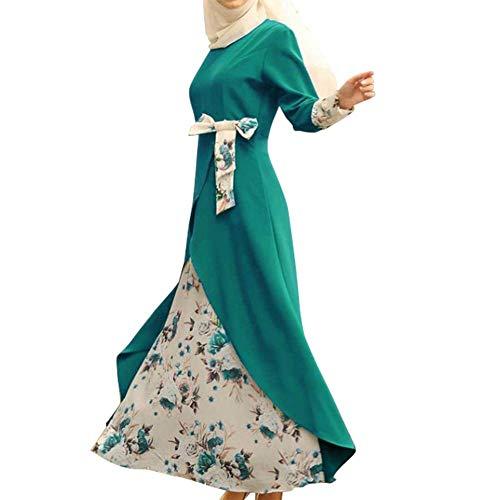 Huaheng Womens islamitische moslim jurk met lange mouwen bedrukt etnische stijl lange jurk L Groen