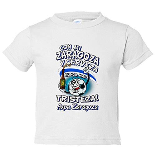 Camiseta niño frase con mi Zaragoza y cerveza nunca hay tristeza fútbol - Blanco, 7-8 años