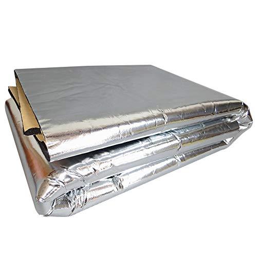 kaaka 100cm x 140cm Thicken Car Hood Engine Fiber Cloth Aluminum Foil,for Engine Compartment Sound Heat Insulation Mat Pad Silver