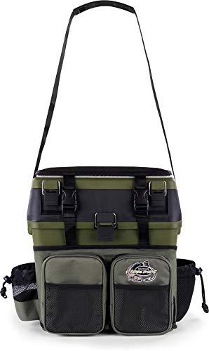 normani Sitzkiepe Angelrucksack Multi-Angelbox Sitz- und Gerätekasten mit Tragegurtsystem - inklusive 4 Kunststoffboxen Farbe Olive