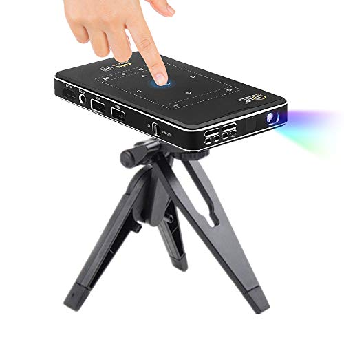 QWEASDF Mini Projector, WiFi DLP High-Definition Portable Video Projector, Built-in Android System, Rechargeable Battery, Very Suitable for Home Theater and Outdoor Entertainment