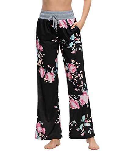 MINTLIMIT  Schlafanzughose Damen Lang Pyjama Pyjamahosen Soft Nachtwäsche Breites Bein Hose, L, Blumen - Schwarz Pink B
