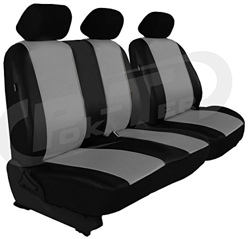 Autositzbezüge, Sitzbezüge Set, BUS in Kunstleder passend für T6 TRANSPORTER (passt nicht in Caravelle und Multivan) in diesem Angeboten GRAU (In 7 Farben bei anderen Angeboten erhältlich) . Sitzbezug Fahrersitz + 2er Beifahrersitzbank + 3 Kopfstützen