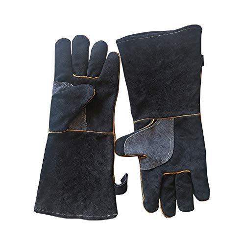 QETY Hitzebeständige Handschuhe, Schwarze Mikrowellenofen Isolierte Handschuhe Für Den Elektrischen Schweiß Grill,16Inches