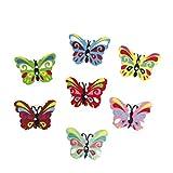 SUPVOX Bottoni in Legno Forma Farfalla per Cucito 50 Pezzi
