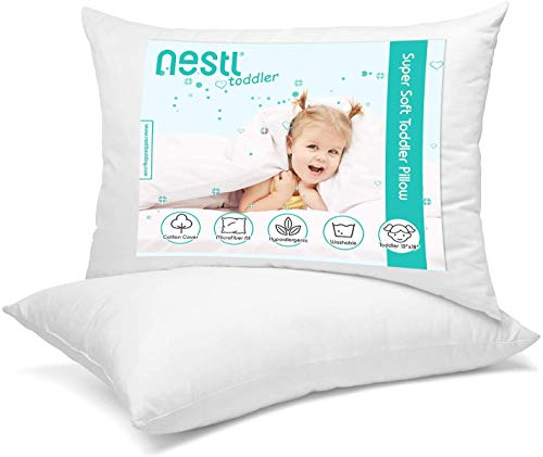 Kids Toddler Pillow 100% Organic Cotton Cover Washable 13 X 18 inches Toddler Bedding Small Pillow Baby Pillows for Sleeping (2 Pack)