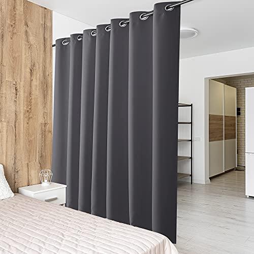 PONY DANCE Vorhang Grau Blickdicht - 1 Stück H 210 x B 254 cm Große Verdunklungsvorhänge für Wohnzimmer & Balkontür Gardine Blickdicht Ösenschal Raumteiler