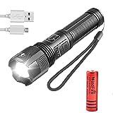 Linterna LED Alta Potencia Antorchas Tácticas Superbrillantes - USB Recargable, Impermeable, 2000 Lúmenes de Enfoque Ajustable, 5 modos de linterna de mano, 18650 Batería Incluida