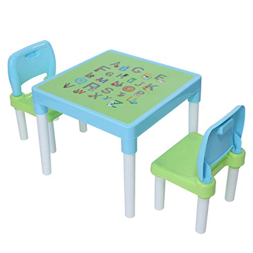 Toddler Table and 2 Chair Set - Interesting English Alphabet Table, Childrens Plastic Activity Desk and Chairs Set, Best for Preschool Boys or Girls Home Bedroom Playroom Use (Light Blue)