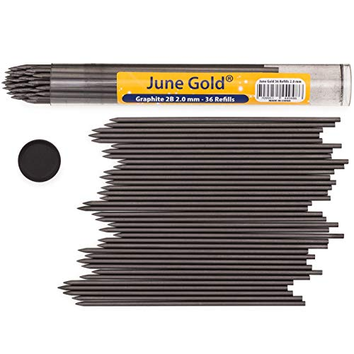 June Gold 36 Pieces, 2.0 mm 2B Lead Refills, Extra Bold Thickness, Break Resistant Lead/Graphite