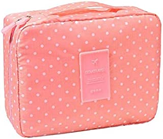 Women Pink Dot Design Travel Storage Bag Portable Protect Bra Underwear Cosmetic Make-up Bag