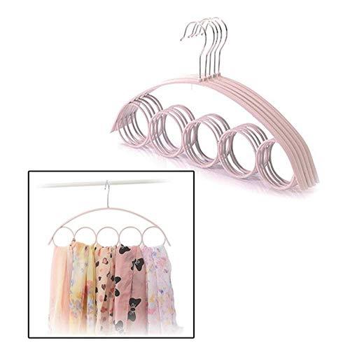 Yener 5-gaats Ring Touwsleuven Houder Haak Sjaals Organisator Sjaal Wraps Sjaal Opslag Hanger Ringbanden Hanger Riemrek, Roze