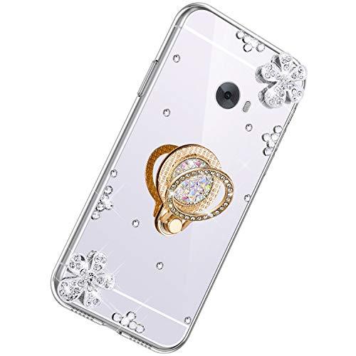 Herbests Kompatibel mit Xiaomi Mi Note 2 Glänzend Diamant Kristall Strass Glitzer Spiegel TPU Handyhülle Handytasche Silikon Schutzhülle TPU Bumper Case mit Handy Fingerhalterung,Silber