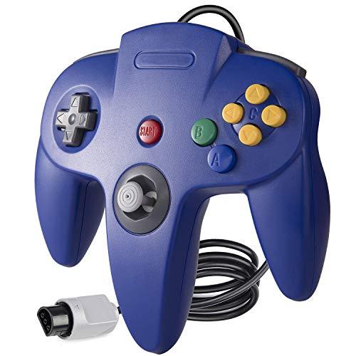 suily Gamecontroller für Retro N64 Spiele, Classic Kabelgebundener Videospiel controller Gamepads Joystick für N64 Konsole (Blau)