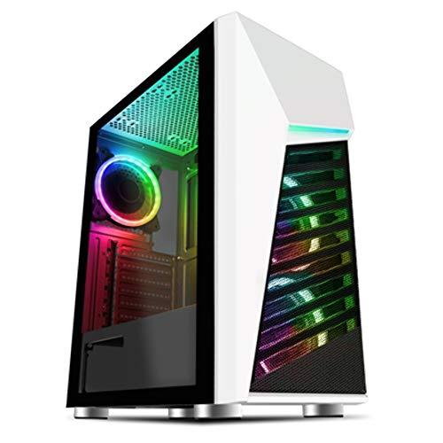 CiT Funda para Juegos Alpha ARGB para PC, ATX, sincronización Aura de 3 Pines, 3 Ventiladores de Velocidad GameMax incluidos, Soporte para 6 Ventiladores, Panel Lateral de Vidrio Templado, Blanco