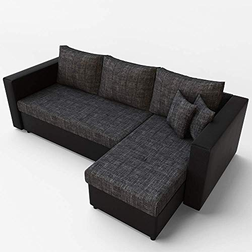 VitaliSpa Ecksofa mit Schlaffunktion Grau Schwarz - Stellmaß: 224 x 144 cm Liegemaß: 200 x 140 cm - Sofa Couch Schlafcouch Schlafsofa Eckcouch Taschenfederkern