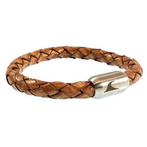 WAVEPIRATE® Echt Leder-Armband Fuerte Cognac 20 cm Edelstahl-Verschluss in Geschenk-Box Surfer Damen Herren