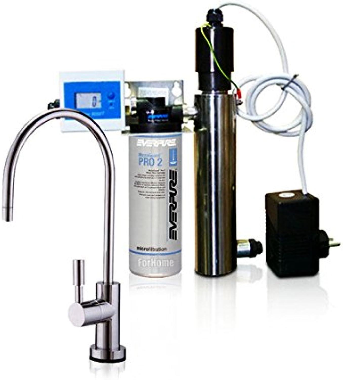 Wasserfilter System ForHome EasyPure für die küche Mikrofiltrations Wasser Ultrafilter Anlage unter der Spüle Wasseraufbereiter mit UV-Lampe Wasserfilter Untertisch Everpure PRO2