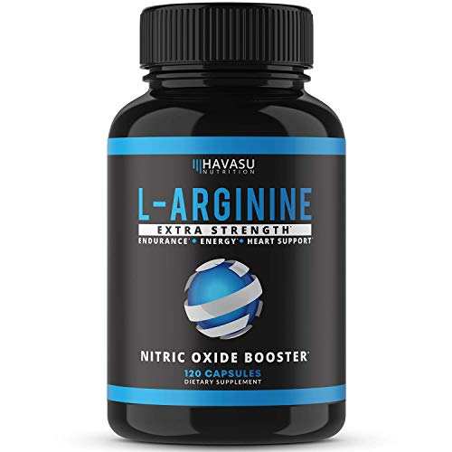 Havasu Nutrition L-Arginine Extra Strength Capsules - Nitric Oxide Booster for Endurance, Energy & Heart Support (120 Count Pack of 1)