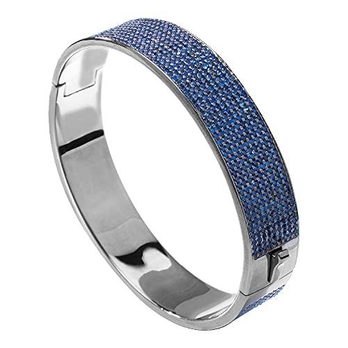 Brazalete unisex de plata de ley de la marca Folli Follie, color azul, 8 centímetros (referencia: 3B15S063KU)