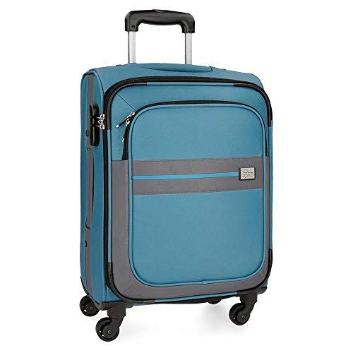 Roll Road Sicilia Maleta de cabina Azul 38x55x20 cms Blanda Poliéster Cierre combinación 35L 2,6Kgs 4 Ruedas Equipaje de Mano