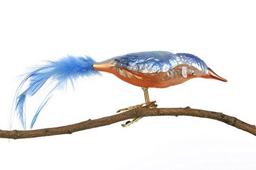 Thüringer Kerstmis glazen vogel, ijsvogel met natuurlijke veer, blauw, 15 x 3,3 x 4,5 cm