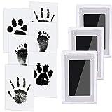 3 pcs Baby Abdruck set Nabance Baby Handabdruck und Fußabdruck Clean Touch Stempelkissen Baby Handprint Babyhaut kommt nicht mit Farbe in Berührung für Baby Shower Familie Geschenk