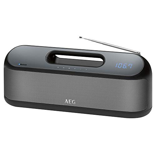 AEG SR 4842 BTS / Bluetooth-Stereolautsprecher / 2x 10 Watt / Digital Sound Prozessor / Inkl. PLL-UKW-Radio / Akku- und Netzbetrieb / USB-Port zum Laden von Smartphones / AUX-IN / Schwarz