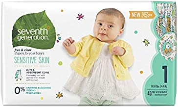 Seventh Generation Baby Diapers for Sensitive Skin, Animal Prints, Size 1, 40 count