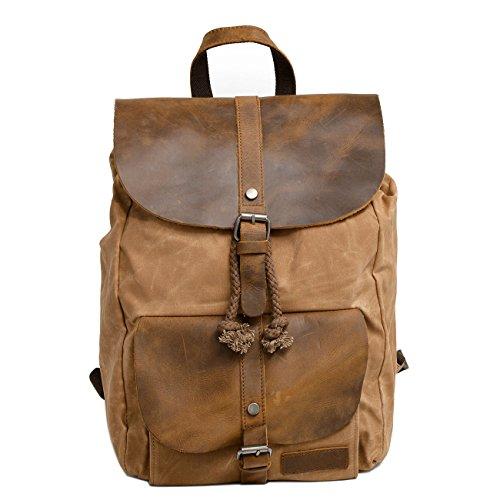 Neuleben Vintage Wasserdicht Rucksack Daypack aus Canvas Leder Damen Herren für Reise Outdoor Schule (Braun)
