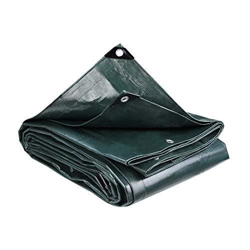 MVPower Lona Impermeable Exterior con Ojales Protección Solar y Resistente a la Rotura para Muebles de Jardín, Camping, Madera, Piscina, Vehículos y barcos, 3m*6m,280g / m² verde oscuro