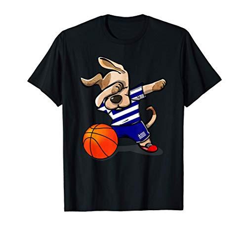 Dabbing Dog Perro Baloncesto de Grecia - Bandera griega Camiseta