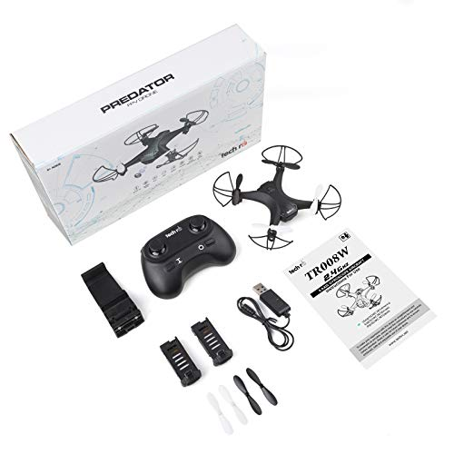 Techrcドローンカメラ付き小型ミニドローンこども向けバッテリー2個飛行時間20分WiFiリアタイム高度維持ヘッドレスモード宙返りモード3段階スピード調節プレゼント国内認証済みTR008W