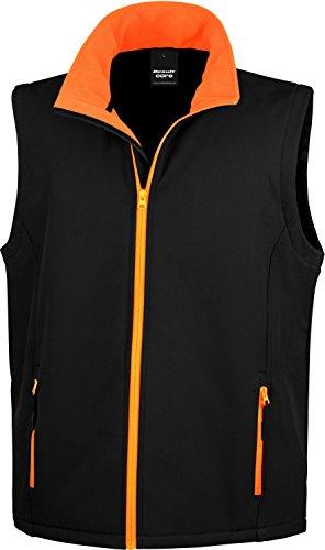 Result Ergebnis r232m bedruckbar Softshell Bodywarmer Größe L schwarz/orange