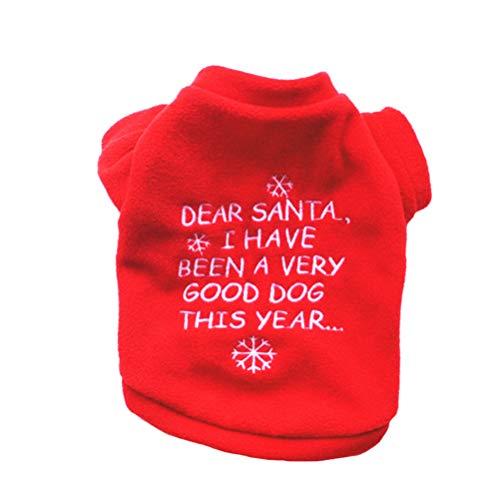 Amosfun Natale Cane Costume Pet Felpa con Cappuccio Cappotto Vestiti Abbigliamento per Cucciolo Teddy Chihuahua Yorkshire Barboncino Maltese Cucciolo Pug (Taglia s)