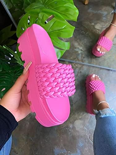 DZQQ 2021 Nouveau été Chaussures compensées Femmes Noeud Papillon Conception Dames Talon Haut sans Lacet Sandales PVC Femme Pantoufles Grand