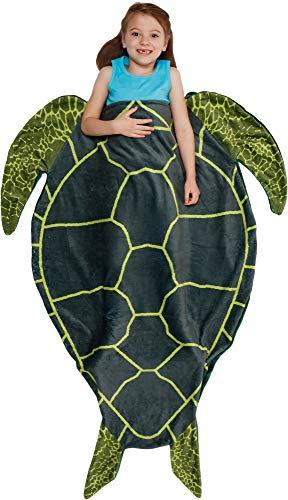 Silver Lilly Animal Tail Blanket - Plush Animal Sleeping Bag Blanket for Kids (Turtle)