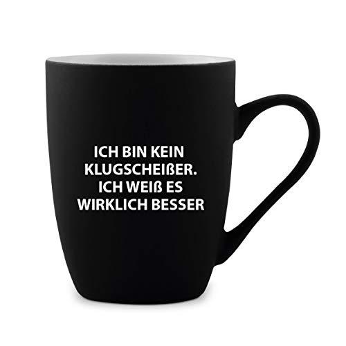 KIXY Tasse 300 ml Keramik gummiert Schwarz Witziges Lustiges Geschenk - Klugscheißer