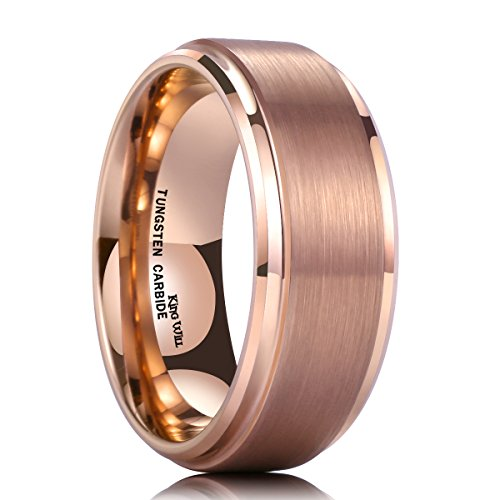 King Will Glory 8mm Rose Gold Plated Tungsten Carbide Ring Wedding Band Matte Finish Comfort Fit 10