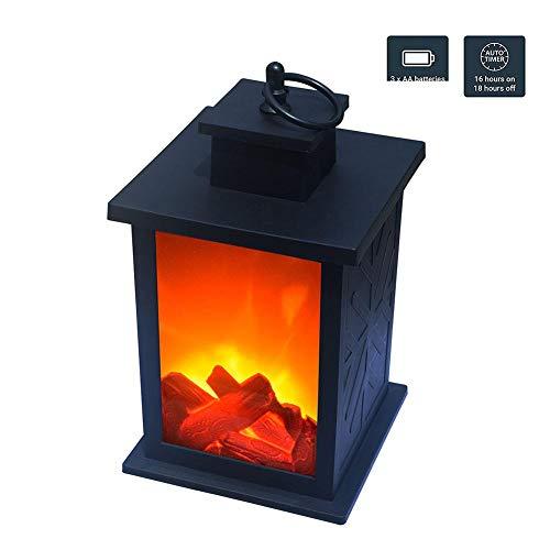 Ablerfly dekorative Kaminlaterne flackernde Flammeneffekt-LED-Tischlaterne hängende Innen- / Außenlaterne, dekorative Kerzenlaterne schwarz Landmark