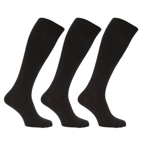 Universaltextilien Herren Socken/Kniestrümpfe, lang, mit Lammwoll-Anteil, 3er-Pack (39-45 EUR) (Schwarz)